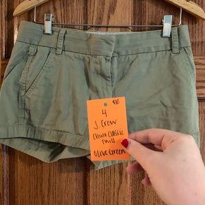 J. Crew olive green twill shorts